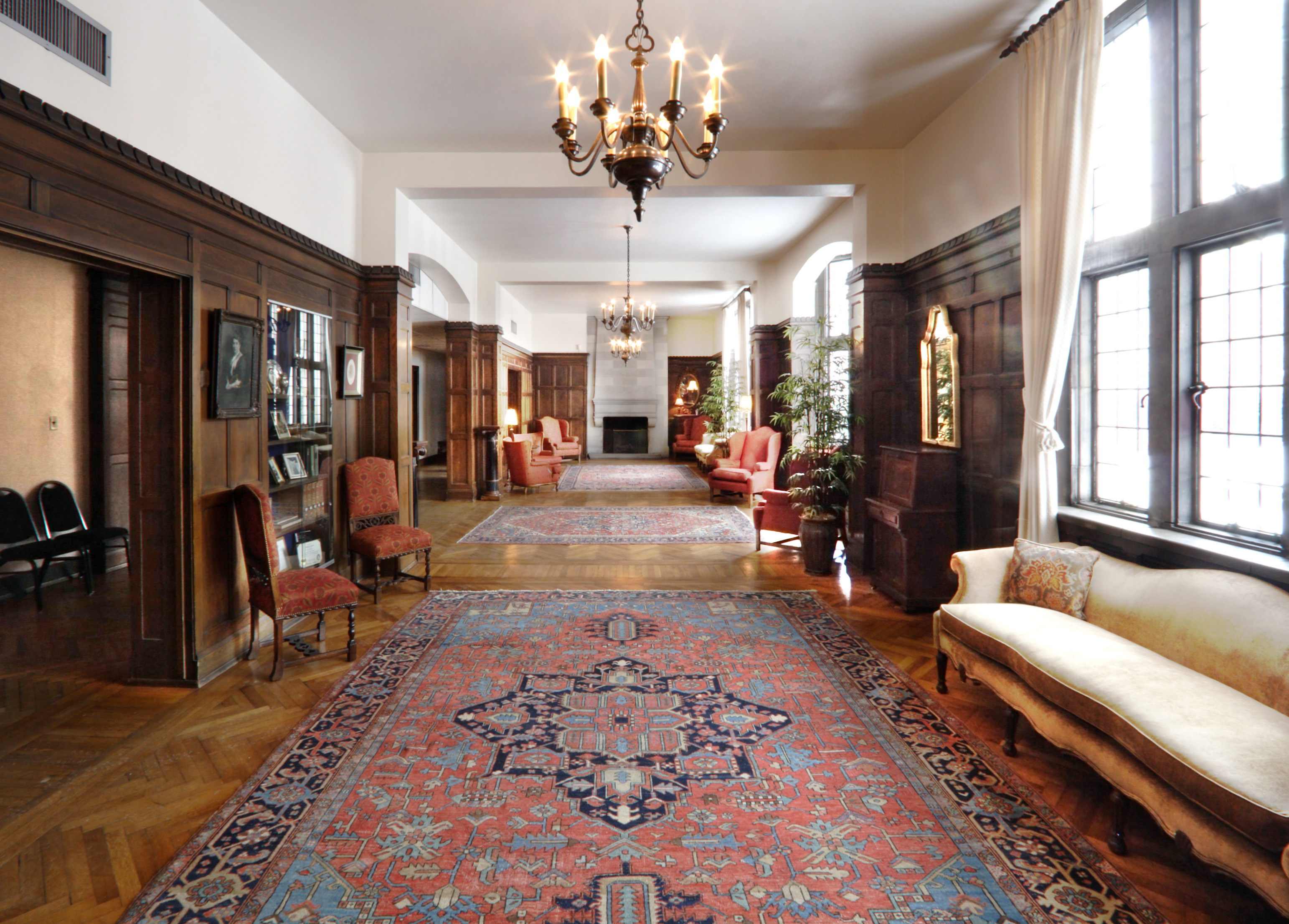 Room with carpets and chandeliers
