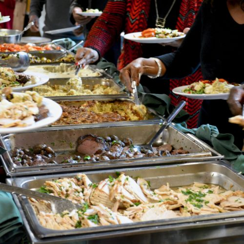 buffet line of food