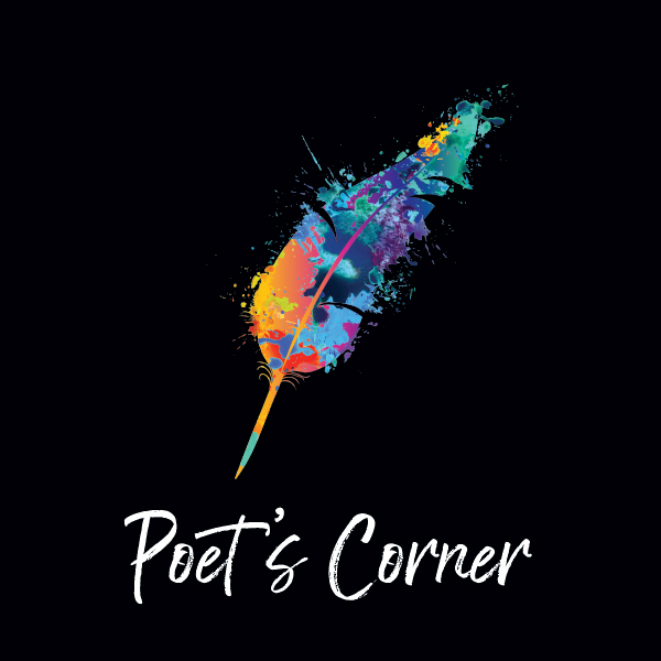 Poet's Corner logo with multicolor feather quill