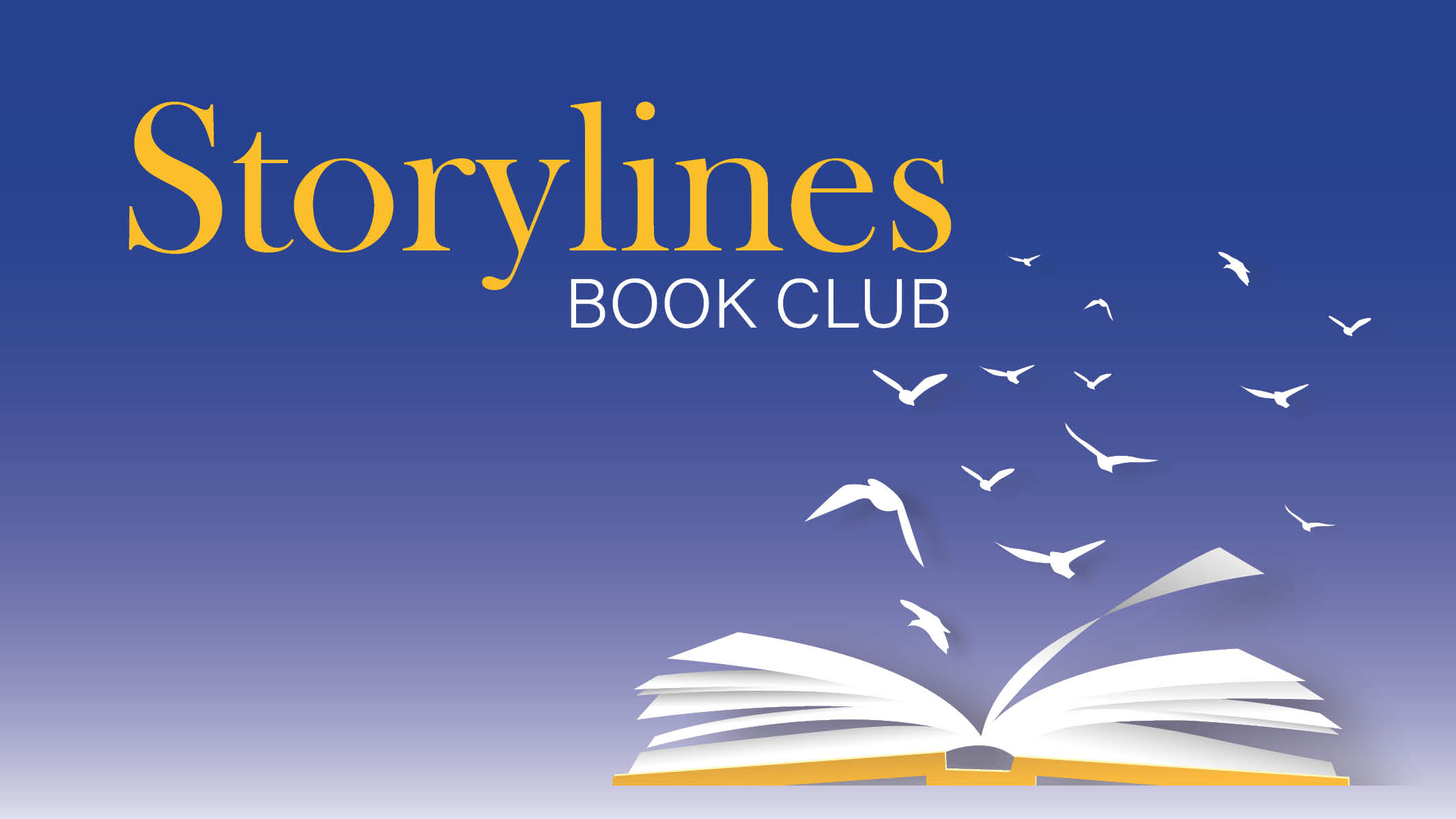 Storylines Book Club logo with birds flying out of an open book