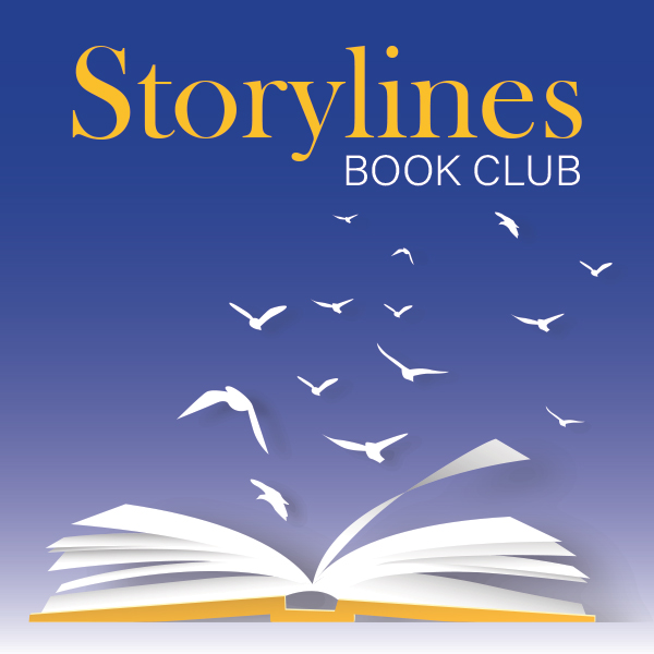Storylines Book Club graphic with birds flying out of open book