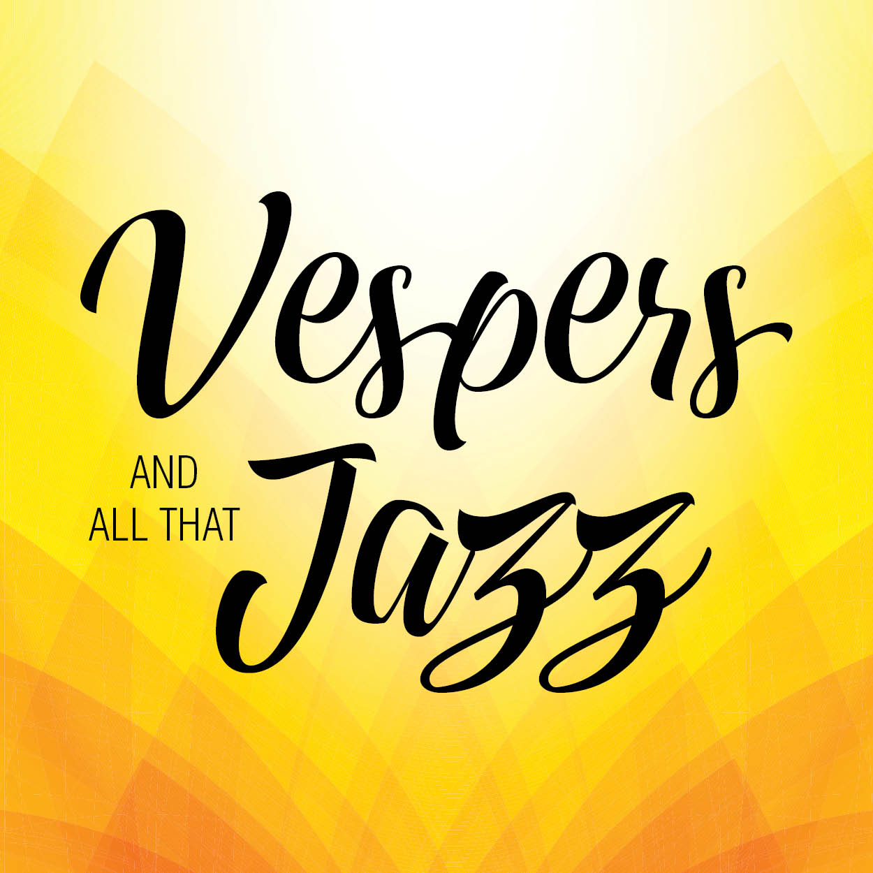 Vespers & All That Jazz graphic with abstract sunrise