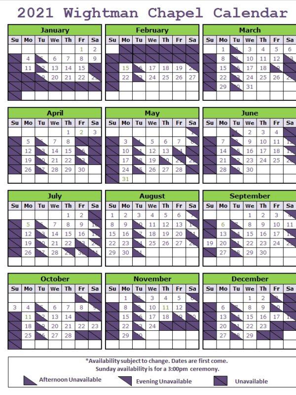 WC 2021 Availability Calendar