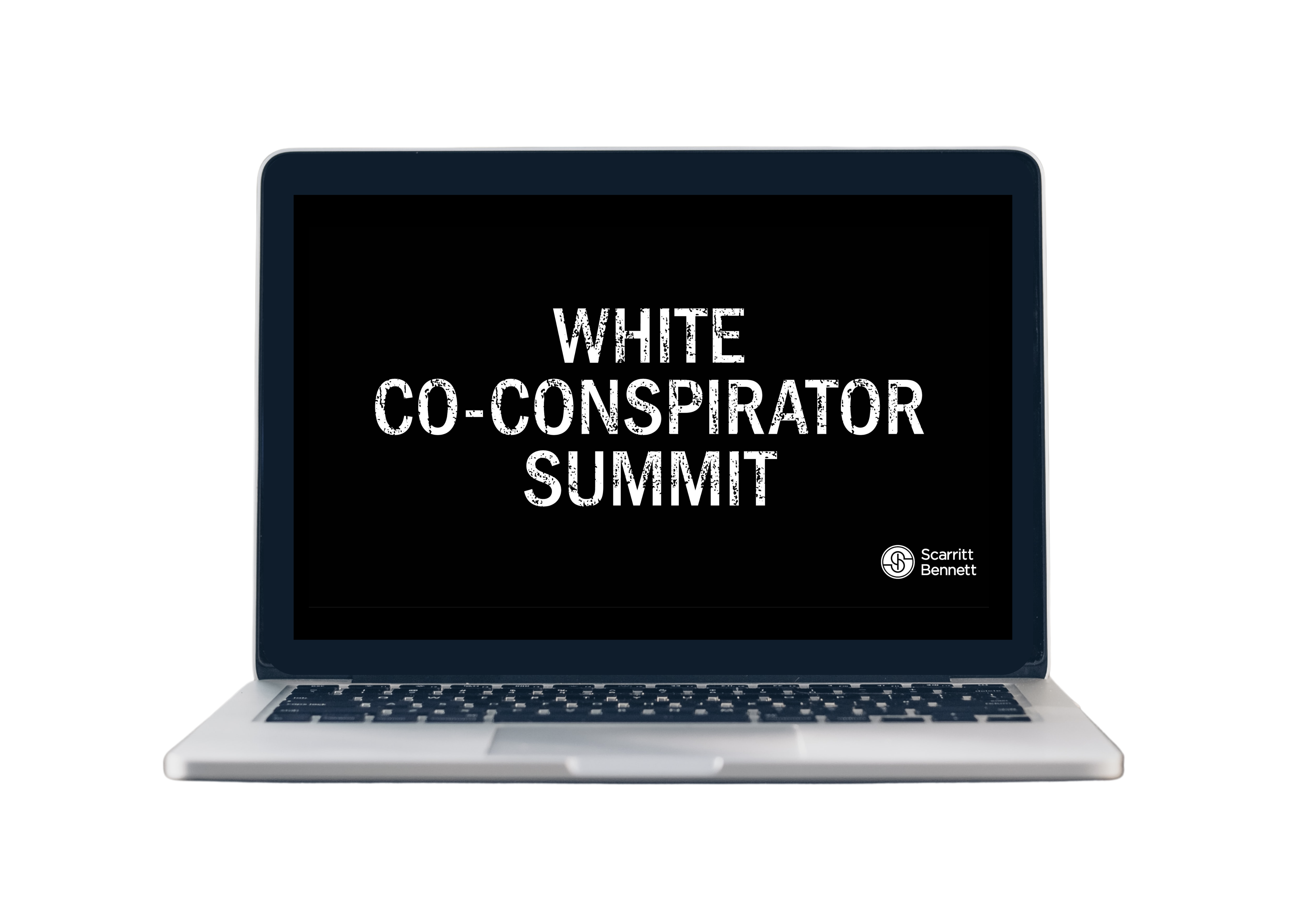 Laptop with screen showing White Co-Conspirator Summit logo