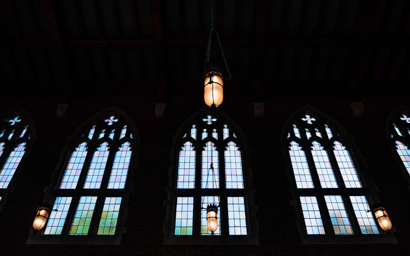 Stained glass windows on campus