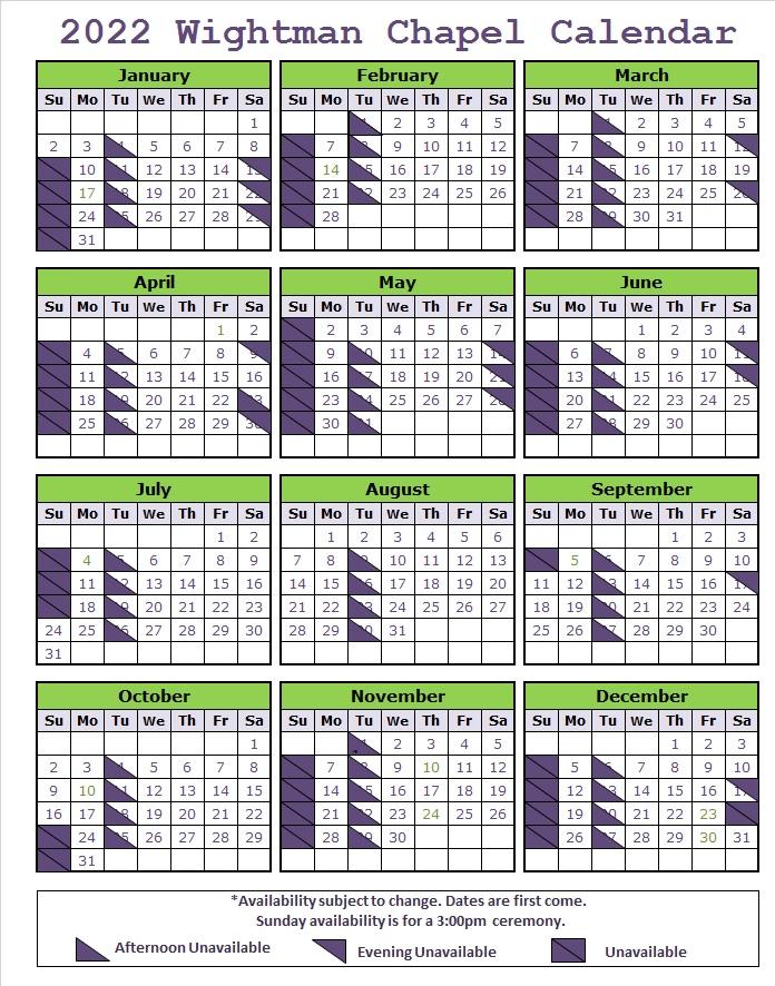 Wightman Chapel 2022 Availability Calendar