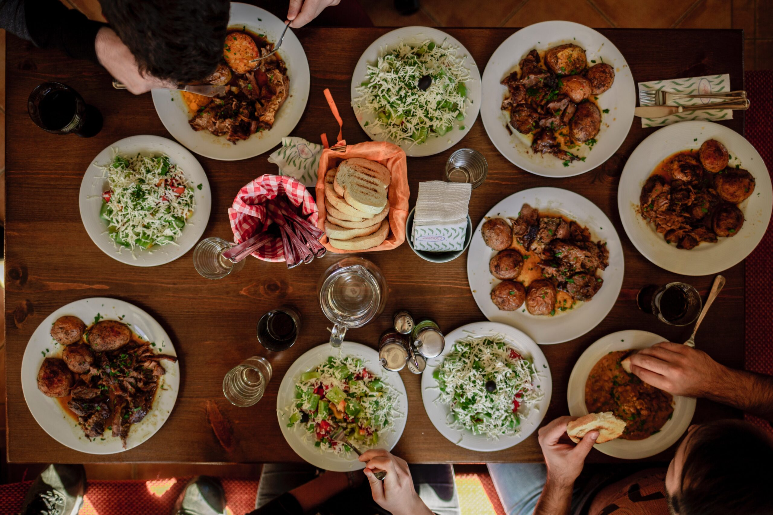 Crowded dining table